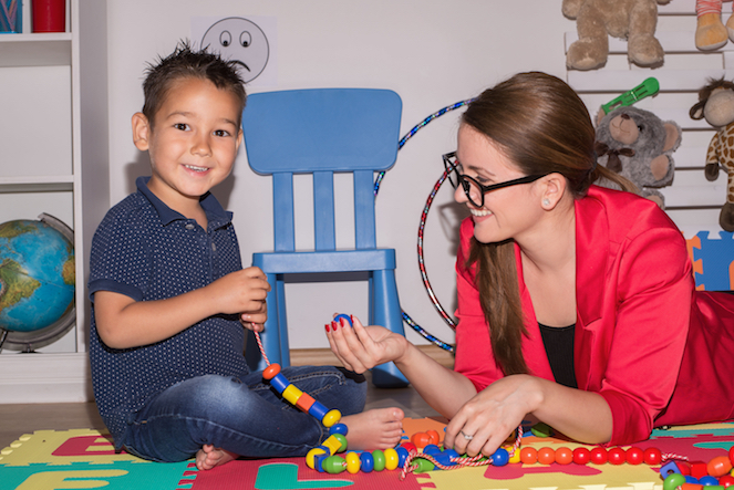 Young Boy with Play Therapist